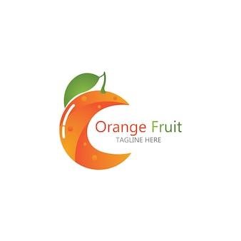 오렌지 과일 로고 디자인 벡터 아이콘 일러스트 디자인