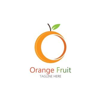オレンジ色の果物のロゴデザインベクトルアイコンイラストデザイン