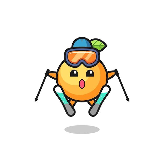 스키 선수로서의 주황색 과일 마스코트 캐릭터, 티셔츠, 스티커, 로고 요소를 위한 귀여운 스타일 디자인