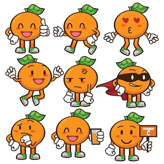 Orange fruit mascot character set