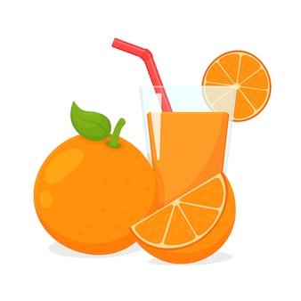 オレンジ。オレンジは半分にカットしてからオレンジジュースを絞る Premiumベクター