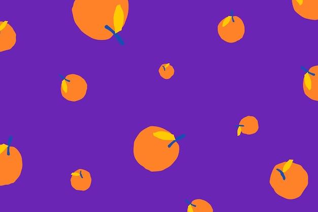紫色の背景にオレンジ色のフルーツパターンベクトル