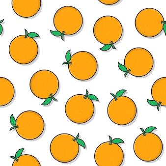 Orange fruit seamless pattern on a white background. fresh orange icon vector illustration