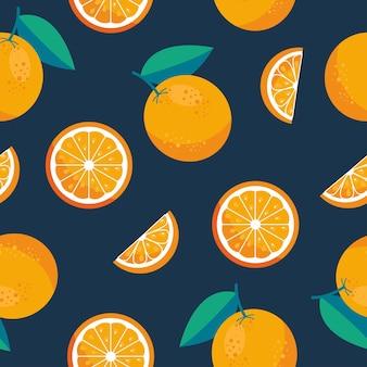 オレンジ色の果物のシームレスなパターンの背景