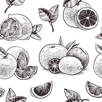 오렌지 과일 원활한 패턴입니다. 빈티지 감귤 류의 과일, 손으로 그린 오렌지 꽃과 나뭇잎 스케치, 식물성 드로잉 라임과 자몽 식물 조각 벡터 벽지