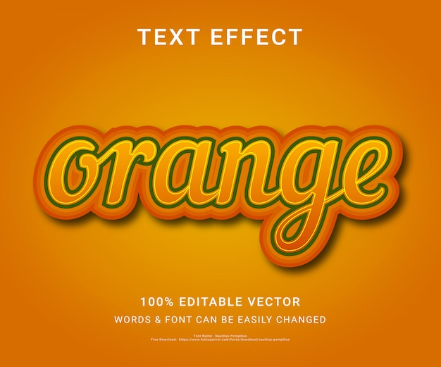 Orange full editable text effect