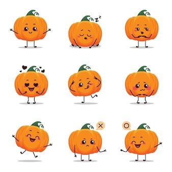 Оранжевый смешной жуткий тыква значок персонажа анимация мультфильм талисман стикер выражение говорящая активность пение возбужденный