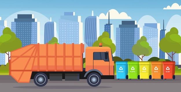 Orange garbage truck urban sanitary vehicle loading recycling bins segregate waste sorting management concept modern cityscape background flat horizontal