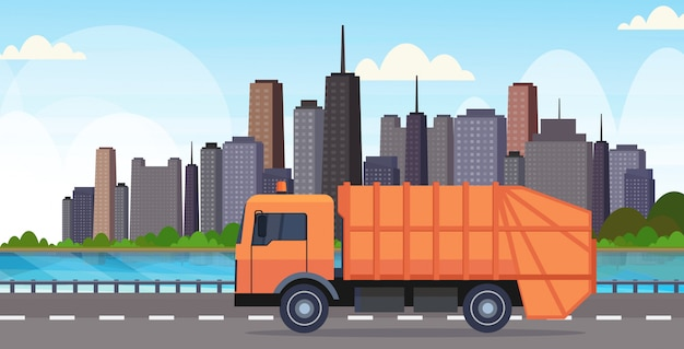 Orange garbage truck urban sanitary vehicle moving city highway waste recycling concept modern cityscape background flat horizontal