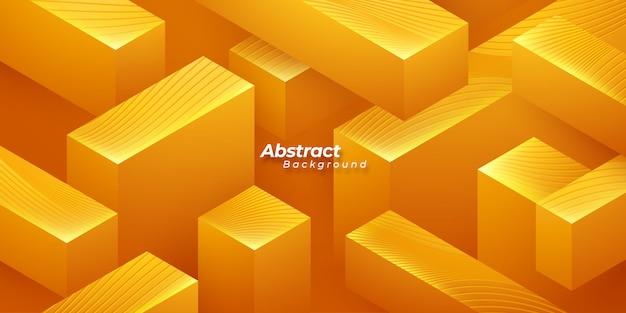 Orange geometric 3d background.
