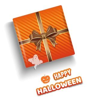 Оранжевая подарочная коробка на хэллоуин. подарочная коробка хэллоуина на белом фоне вид сверху. счастливого хэллоуина. иллюстрация