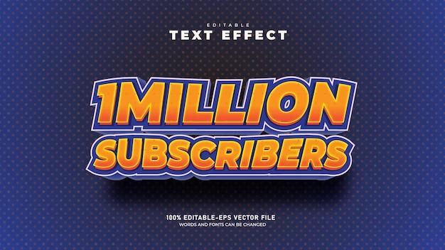 Оранжевое золото миллион подписчиков редактируемый шаблон 3d текстового эффекта