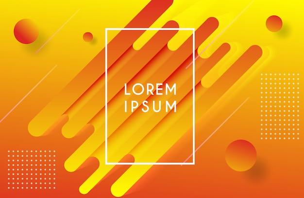 Orange gradation background with trendy fluid composition