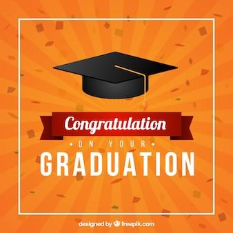 Orange graduation biretta background