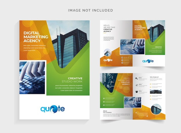 Orange and green bifold brochure