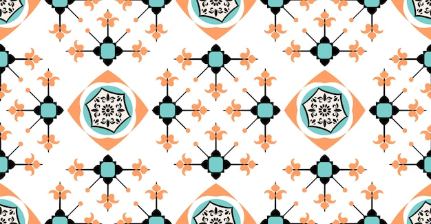 Orange green blue geometric seamless pattern in african style with square tribal circle shape