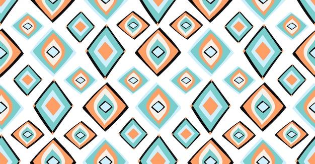 正方形の部族の円の形をしたアフリカスタイルのオレンジグリーンブルー幾何学的シームレスパターン