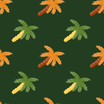 Orange and green colored tropical palm tree coconut print. dark green background. tropic nature shapes. designed for fabric design, textile print, wrapping, cover. vector illustration.
