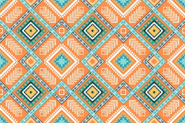 Orange green colors cross weave ethnic geometric oriental seamless traditional pattern. design for background, carpet, wallpaper backdrop, clothing, wrapping, batik, fabric. embroidery style. vector
