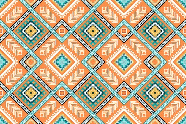 オレンジグリーンの色は、民族の幾何学的な東洋のシームレスな伝統的なパターンを織り交ぜています。背景、カーペット、壁紙の背景、衣類、ラッピング、バティック、ファブリックのデザイン。刺繡スタイル。ベクター