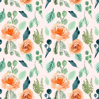 Orange green floral watercolor seamless pattern