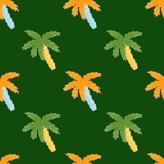 Orange and green palm tree ornament seamless doodle pattern. simple style. dark green background. designed for fabric design, textile print, wrapping, cover. vector illustration.