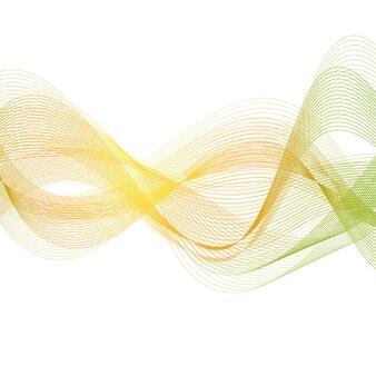Orange green smooth lines. wavy vector background