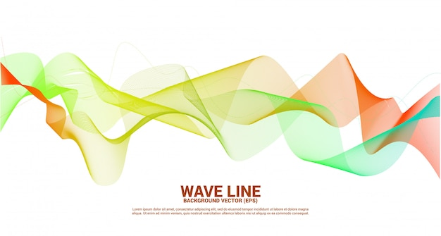 Orange green sound wave line curve on dark background. element for theme technology futuristic vector