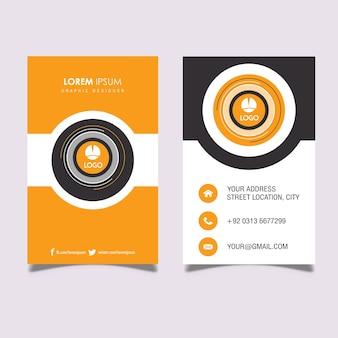 Вертикальная визитная карточка orange & grey