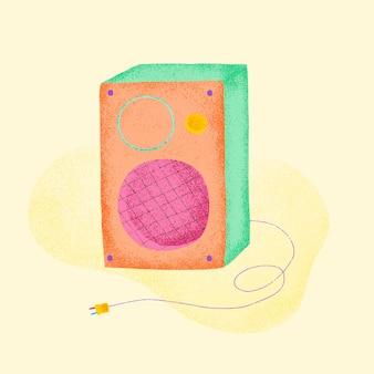 Orange guitar amp sticker vector flat design illustration