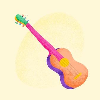 오렌지 기타 스티커 벡터 악기 그림