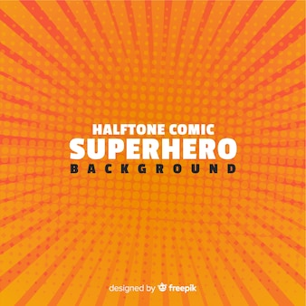 Orange halftone superhero background