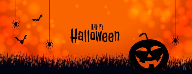 Оранжевый баннер хэллоуин с тыквой паука и летучих мышей