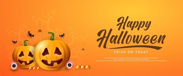 Оранжевый баннер на хэллоуин с тыквенным пауком и летучими мышами