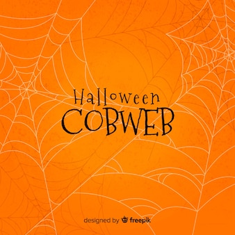 Orange halloween cobweb background