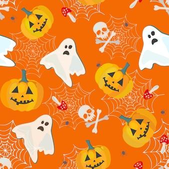 Оранжевый узор на хэллоуин с тыквами, призраками и костями, вектор бесшовный фон