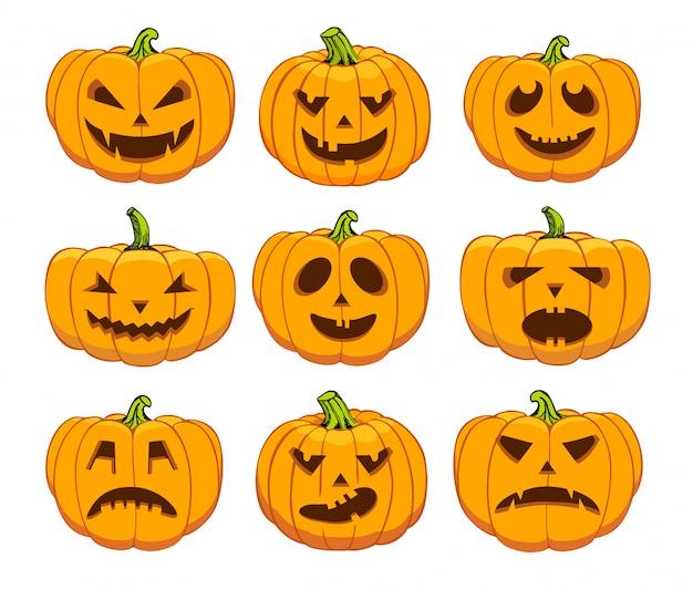 Orange halloween pumpkins set on black background.