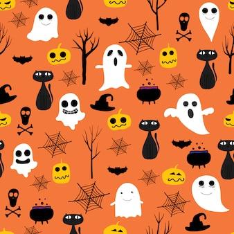 Orange halloween seamless pattern