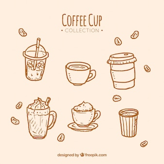 Orange hand drawn coffee cup collection