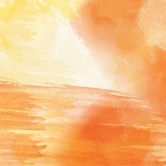 オレンジ色の手描きの水彩の背景、ベクトル