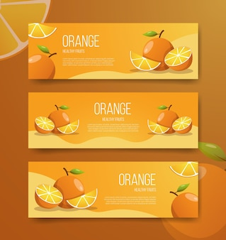 Orange healthy fruits for template banners Premium Vector
