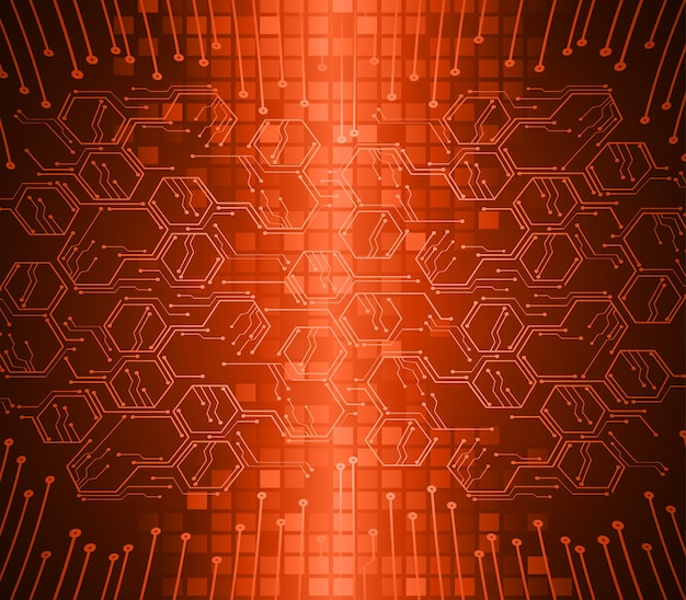 Orange hexagon cyber circuit future technology concept background