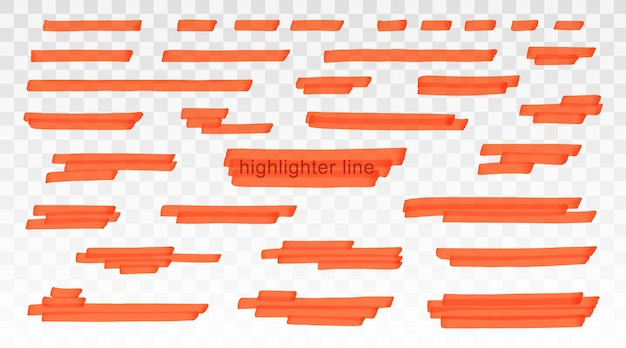 투명 한 배경에 고립 된 오렌지 형광펜 라인 집합입니다. 마커 펜은 획에 밑줄을 긋습니다. 벡터 손으로 그린 그래픽 세련 된 요소입니다.
