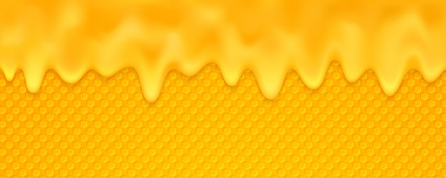 Orange honey background is melting with honeycomb.