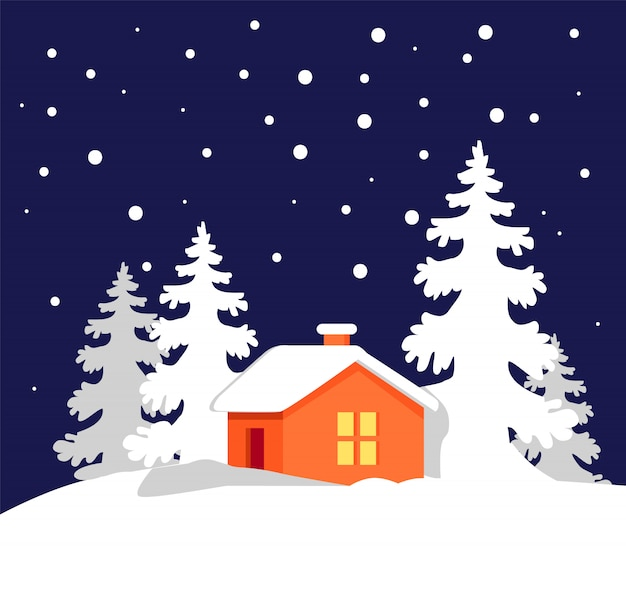 Orange house in snowy forest vector illustration