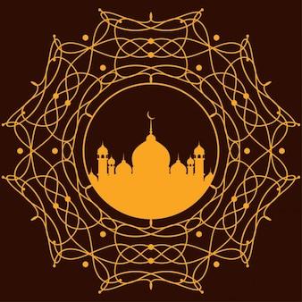 オレンジイスラム背景デザイン