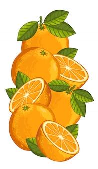 Апельсин, изолированные на белом