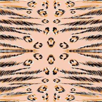 오렌지 재규어 피부 벡터 완벽 한 패턴입니다. 황토 얼룩말 자연 아프리카 배경입니다. 옐로우 팬더 모피 이국적인 바탕 화면. 인도 사파리 레오파드 패턴. 검은 치타 텍스처