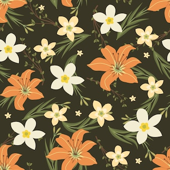 Orange and jasmine flowers wreath ivy style with branch and leaves, seamless pattern