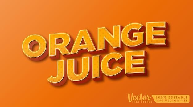 오렌지 주스 3d 편집 가능한 텍스트 스타일 효과 모형 템플릿